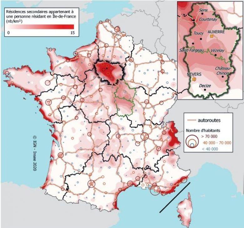 Densité de résidences secondaires détenues par des résidents d'Île-de-France. / © Insee, fideli 2017