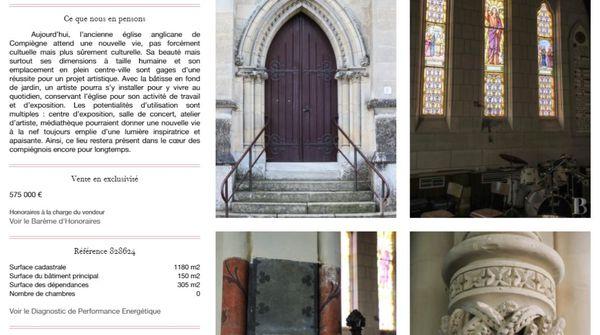 Capture d'écran de l'annonce immobilière de l'ancienne église anglicane de Compiègne
