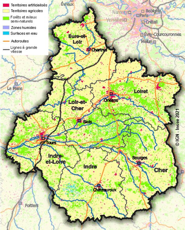 L'occupation des sols en région Centre-Val de Loire en 2018.