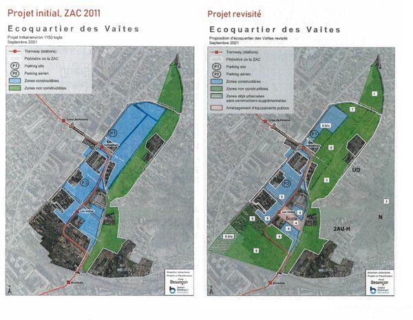 Le projet initial de l'éco-quartier des Vaîtes vs le projet revisité présenté ce jeudi 19 septembre en conférence de presse